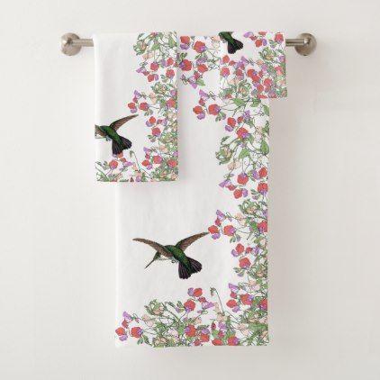 Hummingbird Bird Sweet Pea Flower Bath, Pea Bathroom Accessories