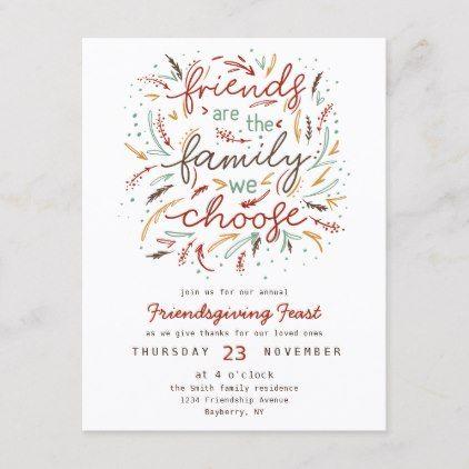 Friendsgiving Typography Thanksgiving Dinner Invitation
