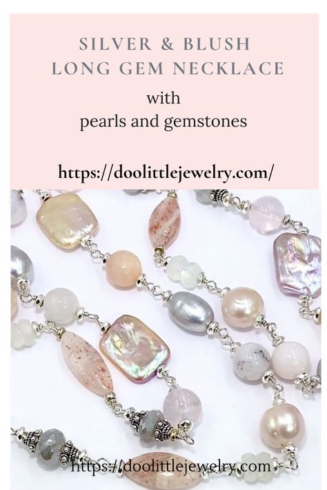 Pink and white necklace Gemstone Semi Precious Beaded Necklace Sterling Silver Freshwater Pearl necklace Handmade Beauje