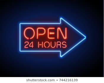 Neon Sign Open 24 7 Light Vector Background Realistic Glowing Shining Design Element In Arrow Frame For 24 Hours Club Bar Cafe Neon Signs Neon Neon Box