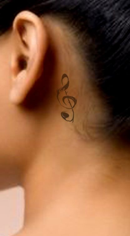 I Want A Few Music Notes On The Back Of My Neck But This Is Music Note Tattoo On Neck In 2020 Neck Tattoo Behind Ear Tattoos