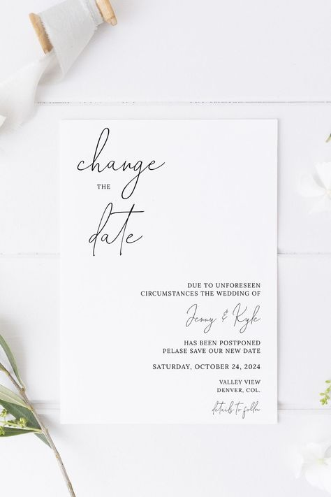 If you've had to postpone, change or cancel your Wedding Day, let your guests know by sending them this modern Change the Date template. Purchase, personalise and print within minutes! Click the link to try out the FREE demo! #minimalistwedding #weddingpostponement #changethedate #modernwedding