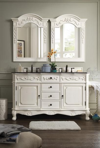 Vanity 60 W X 22 D X 36 H Finish Antique White Item S Included Vanity By James Martin 2cm Double Vanity Double Sink Bathroom Vanity Bathroom Sink Vanity