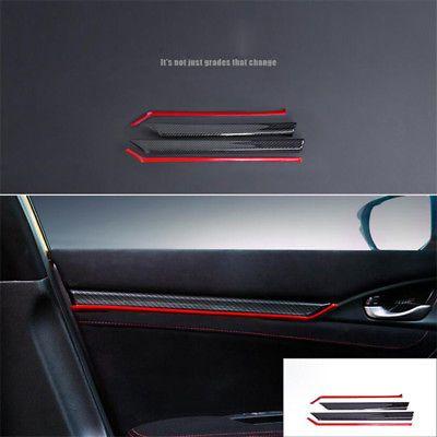 Carbon Fiber Interior Door Trim Decals Cover 8pcs For Honda Civic 10th 2016 2017 Honda Civic Civic Hatchback Honda Civic Hatchback