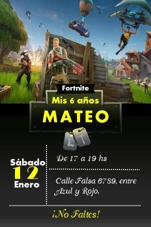 Invitación Fortnite Editable E Imprimible Invitaciones De