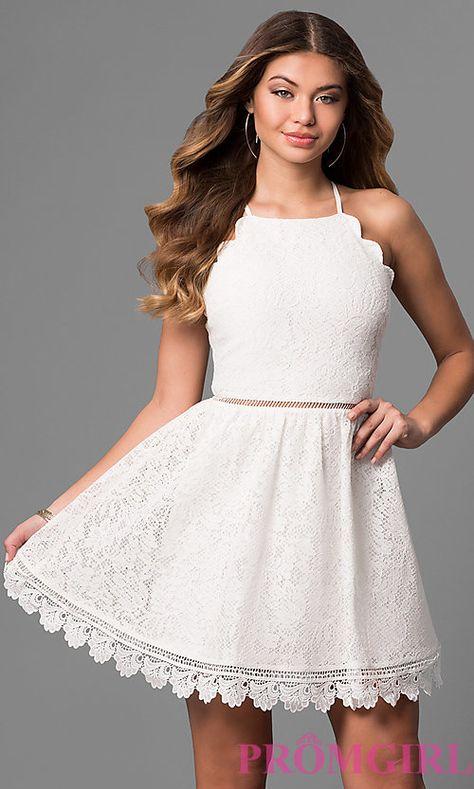 Ivory White Lace Graduation Dress with Scalloped Hem