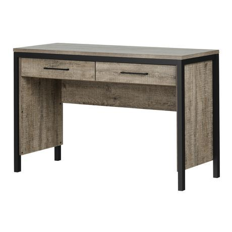 South Shore Munich Desk With Drawers Weathered Oak And Matte Black Walmart Canada Desk With Drawers Weathered Oak Writing Desk With Drawers