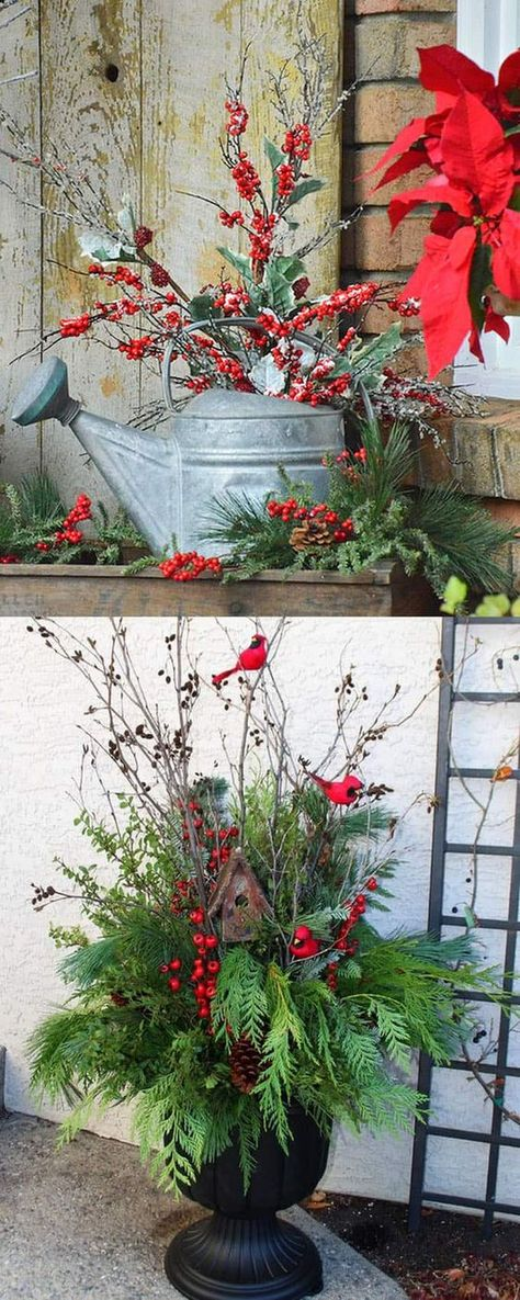 24 Colorful Winter Planters & Christmas Outdoor Decorations