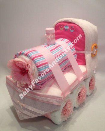 Pink Train Diaper Cake