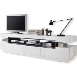 Tv Lowboard Weiss Hochglanzend Grau 200 Cm Breit