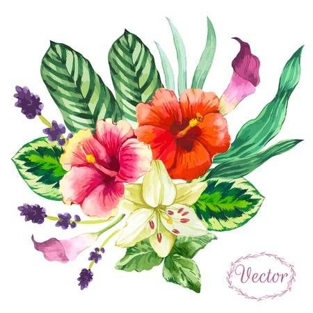 Beautiful Bouquet Tropical Flowers And Plants On White Background Tropical Flowers Hand Painted Flowers Watercolor Flowers