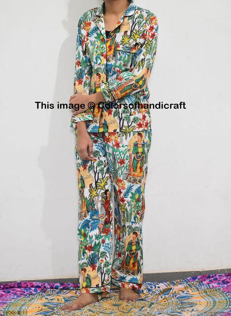 Indian Hand Made Kurta Pajamas Set 100/% cotton women wear night suit Dressing Set Of Woman Body Crossover ,Night Cotton Pajama Set