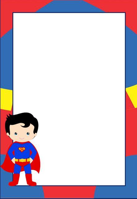 Marcos Invitaciones Tarjetas O Etiquetas De Superman Para