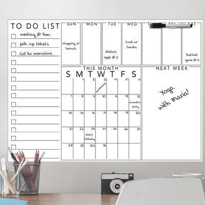 Wallpops Get Organized Combination Calendar Planer Whiteboard 24 X 17 5 Wayfair In 2020 Wall Planner Calendar Organization White Board