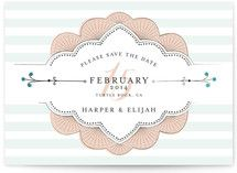 Striped Sweet Nothings Save The Date Cards by Froo.