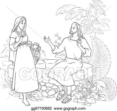 Vector Clipart Jesus And The Samaritan Woman At The Well