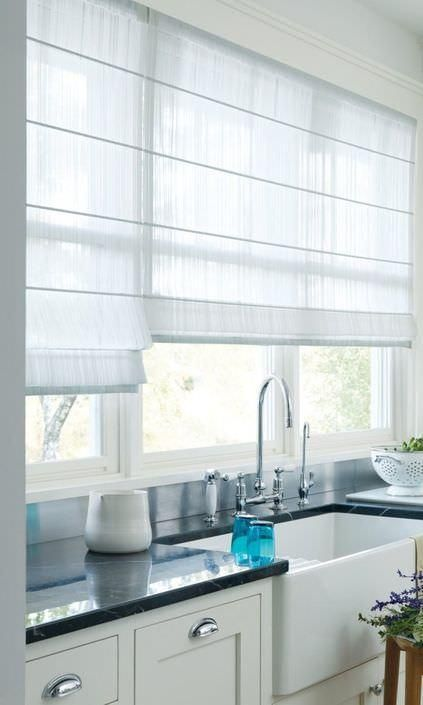 Roman Shades Choosing A Style That Works For You Modern Kitchen Window Kitchen Window Dressing Kitchen Window Treatments
