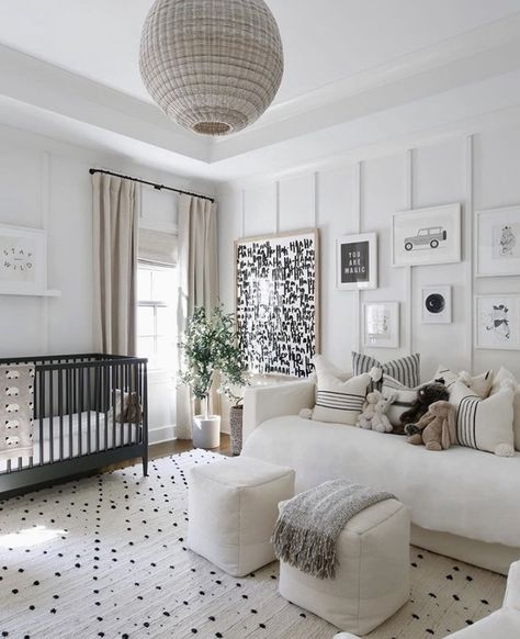 There is something so perfect and serene about a black and white nursery. These black and white nursery ideas will help you create a stylish space. Baby Room Design, Nursery Design, Baby Boy Rooms, Baby Boy Nurseries, Kid Rooms, Nursery Modern, Modern Nurseries, Black Crib Nursery, Rustic Nursery
