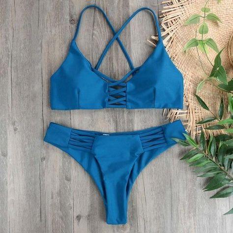 90cd03f8ae4dc Bikini 2018 Bikinis Women Swimsuit Marble Prints criss-cross Bandage Swimwear  Bathing Suit Cut Out Bikini Set Beach Swim Wear