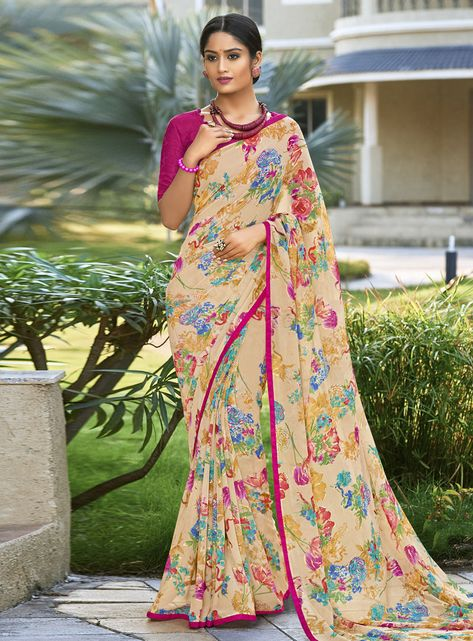 1654ae8145f401 Buy Beige Georgette Festival Wear Saree 153141 with blouse online at lowest  price from vast collection of sarees at Indianclothstore.com.