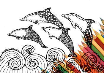Delfini E Mare Pagina Da Colorare Stampare Zentangle Arte Download Disegno Stampabile Da Scaricare Pagina A4 Jpg Natura Onde Spiaggia Pesci Arte Del Colore Pagine Da Colorare Arte Zentangle