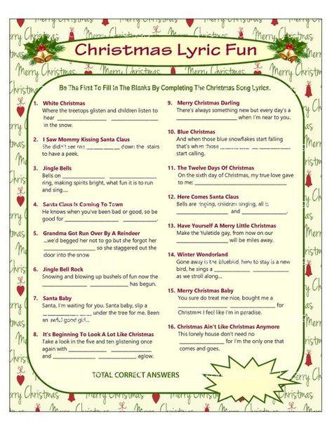 Christmas Song Game Christmas Music Game Christmas Carol Game Printable Christmas Game Printable Christmas Games Christmas Song Games Christmas Songs Lyrics