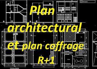 Exemple Plan Architectural Et Plan De Coffrage Dwg Pour Batiment R 1 Autocad Structural Engineering Genies