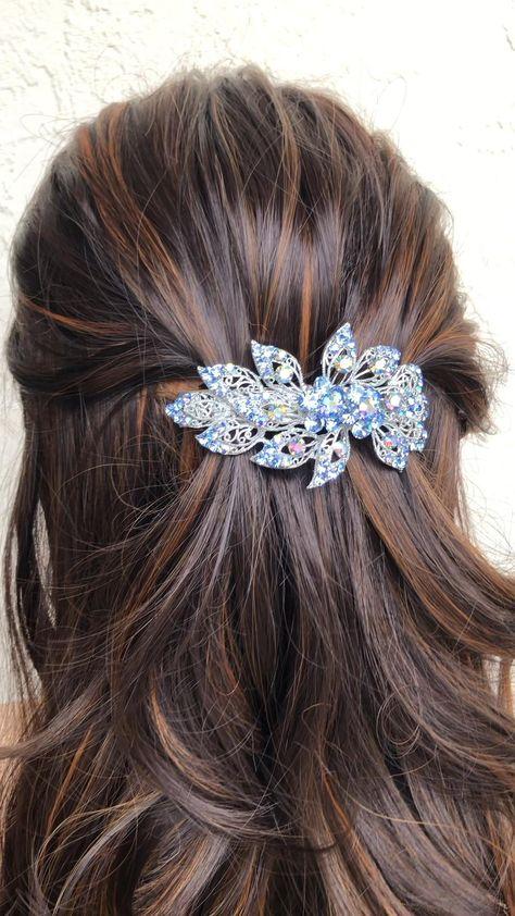 Blue crystal hair barrette