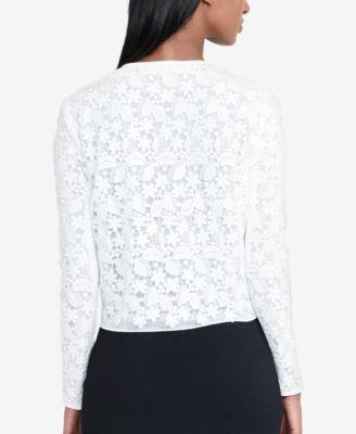 Lauren Ralph Lauren Floral-Lace Cardigan - White 6 | Floral lace ...