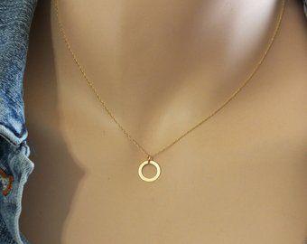 Tiny 14k Gold Heart Necklace Minimalist Charm Necklace Etsy Heart Necklace Circle Charm Necklace Gold Heart Necklace
