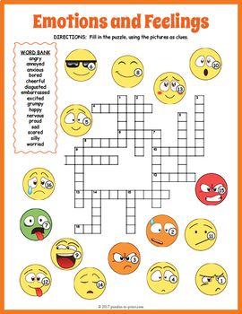 Feelings And Emotions Crossword Puzzle With Images Word