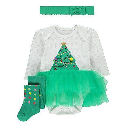 Christmas Tree Tutu Outfit Baby George Gyerekek