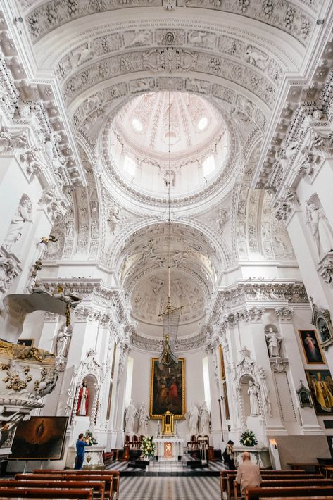 Beautiful All-white church in Vilnius, Lithuania // Lithuania Travel, Poland Travel, Italy Travel, Lithuania Hetalia, Lithuania Food, Kaunas Lithuania, Baroque Architecture, Church Architecture, Europe On A Budget