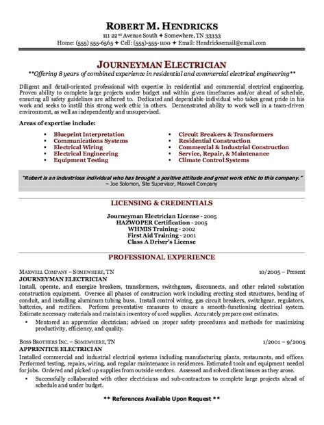 Journeyman Electrician Cover Letter Examples 4 my guys - journeyman electrician resume