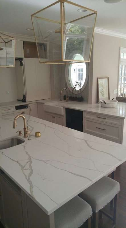 Kitchen White And Grey Quartz Counter 29 Ideas Kitchen Kitchen Marble Kitchen Remodel Countertops Countertops