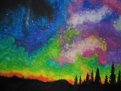 Northern Lights In Wax Crayon By Jackcharrington Wax Crayons