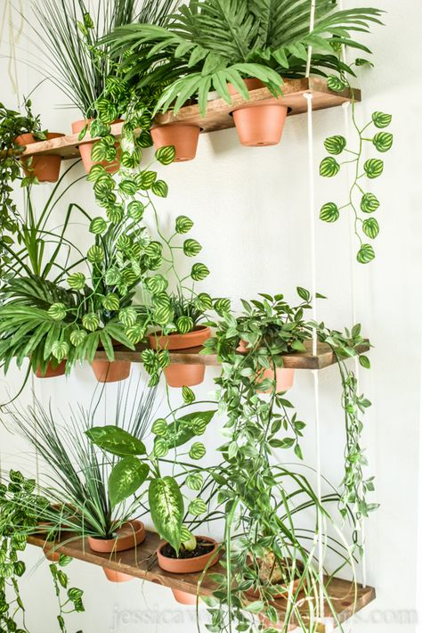 DIY Indoor Vertical Garden - Jessica Welling Interiors - Build a unique indoor DIY vertical garden for your faux plants. This hanging garden living wall is the perfect thing to add Boho style to your home or apartment. Source by jessicawellinginteriors - Room With Plants, House Plants Decor, Plant Decor, Hang Plants On Wall, Home Plants, Best Plants For Bedroom, Real Plants, Living Wall Planter, Wall Planters