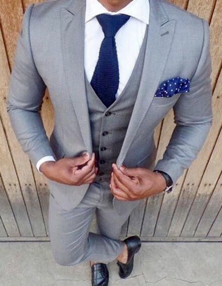Grey Three Piece Men S Suit With A Royal Blue Tie And White Shirt