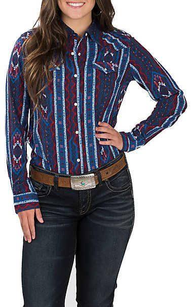 Wrangler Women's Blue with Red and White Aztec Print Long