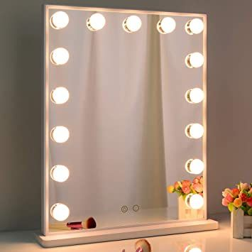 Nitin Hollywood Vanity Mirror With Lights Tabletop Or Wall Mounted Lighted Makeup Mirror With 15 Di In 2020 Makeup Mirror With Lights Makeup Mirror Mirror With Lights