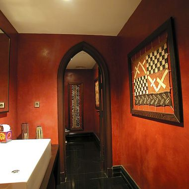 Mediterranean Powder Room Hacienda Style Homes Design Pictures Remodel Decor And Ideas Love The Red Walls