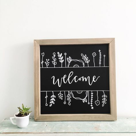 Hand lettered welcome sign with florals! Fall Chalkboard Art, Chalkboard Welcome Signs, Chalkboard Doodles, Chalkboard Art Quotes, Welcome Home Signs, Blackboard Art, Chalkboard Writing, Chalkboard Drawings, Chalkboard Lettering