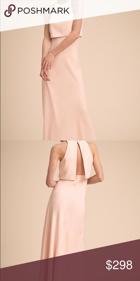 2788c7d559c BHLDN Jill Stuart Iva Dress Long crepe blush dress with split back bodice.  Gorgeous!