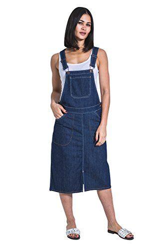 Vintage Wash Bib Overall Pinafore Bib-Skirts USKEES Short Denim Dungaree Dress
