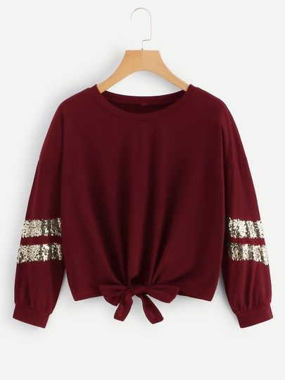 Product name: Contrast Sequin Cuff Knot Hem Sweatshirt at SHEIN, Category: Sweatshirts