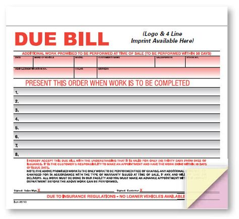 Due Bill  Crash Imprinted Avoid Confusion And Costly