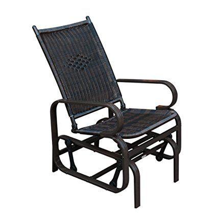 Sunlife Outdoor Garden Pe Wicker Rattan Rocking Chair Steel Frame Patio Rocker Gliders Black With Images Outdoor Glider Chair Glider Rocking Chair Wicker