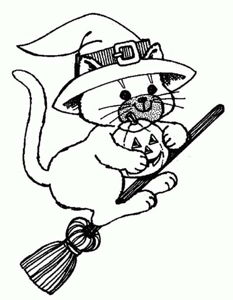 Witch Cat Riding Broomstick Coloring Page Halloween Coloring