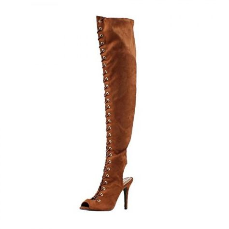 dff3508e4 thigh high Lace Up Boots Breckelles, Breckelles Womens Randi-23 Faux Suede Lace  Up Back Cut Out Thigh High Boot,Tan,7