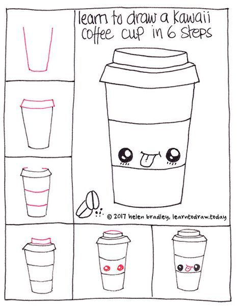 How To Draw A Cute Coffee In Six Steps Easy Doodles Drawings Cute Food Drawings Drawing Tutorial Easy